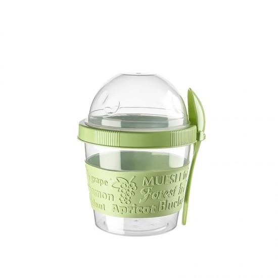Yoghurt Container with Reservoir 500 ML + Spoon (Oat-Muesli Mixtures)